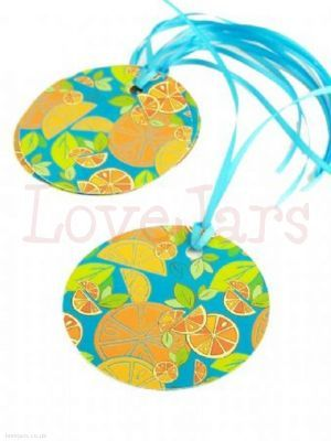 Mixed Citrus Gift Tag 70mm shown with turquoise ribbon - tou could mix and match with the orange