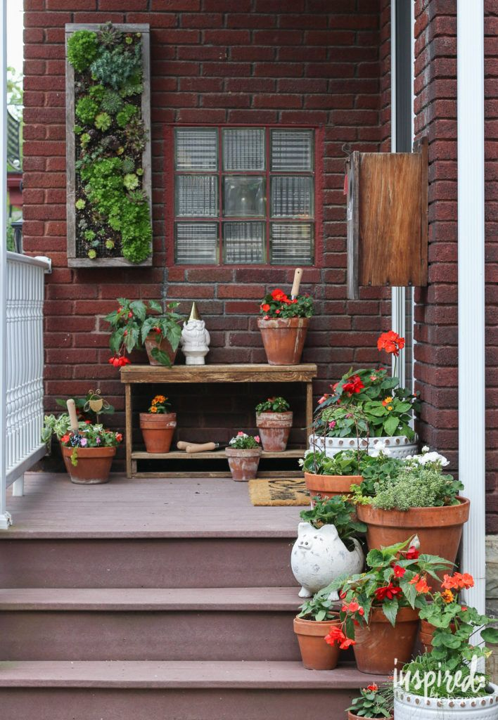Porch Decorating + Vertical Hens and Chicks Planter - Summer Home Tour 2016 on inspiredbychmarm.com