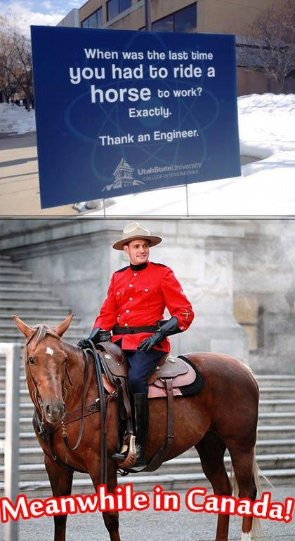 When was the last time you had to ride a horse to work? ... Meanwhile in Canada!
