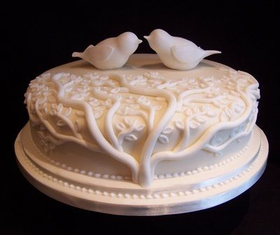 Love birds in a Tree Ivory single tier wedding cake Wedding Cakes - Wedding, Birthday and all celebration cakes by Elizabeth Miles based in Shaftesbury Dorset