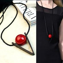 Red bead black triangle pendant long necklace women 2015 vintage jewelry(China (Mainland))