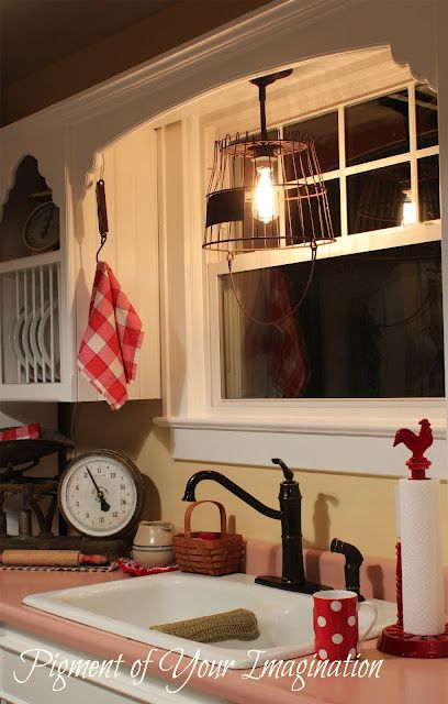 How to Make a Pendant Light From an Old Rusty Egg Basket..like the look of the sink area...vintage pieces