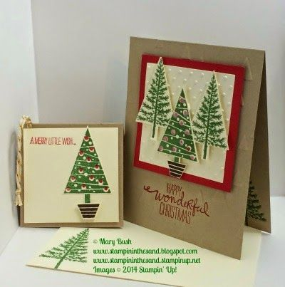 Stampin Up Festival of Trees stamp set and punch bundle. Christmas card and gift tag. #stampinup #christmas