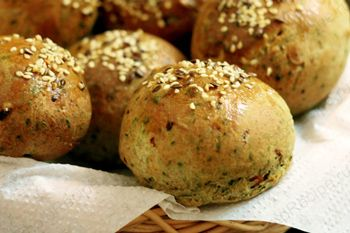 Spinach muffins this is a yeast dough with onion,dry dill and spinach added to the mixing of dough