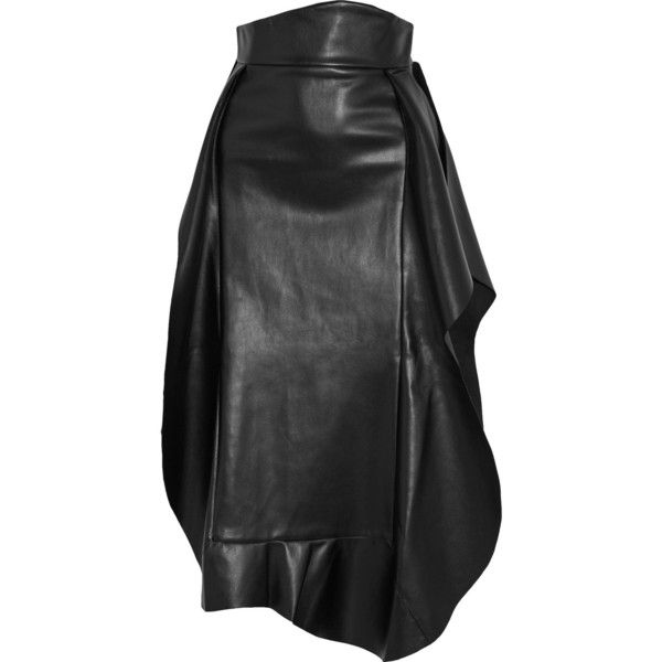 A.W.A.K.E. Ruffled faux leather midi skirt (€780) ❤ liked on Polyvore featuring skirts, black, frilly skirt, leather look skirt, mid calf skirts, vegan leather skirt and flounce midi skirt
