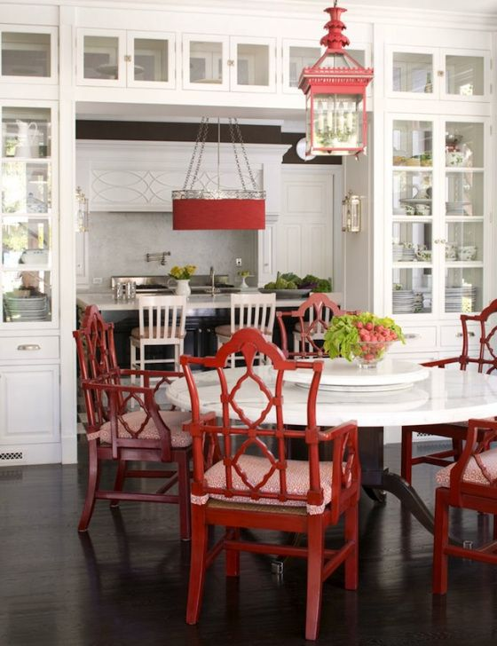A classic white kitchen gets an Asian touch with lacquered red Oriental design chairs and a hanging lantern (via Chinoiserie Chic: Red and Chinoiserie). Description from pinterest.com. I searched for this on bing.com/images