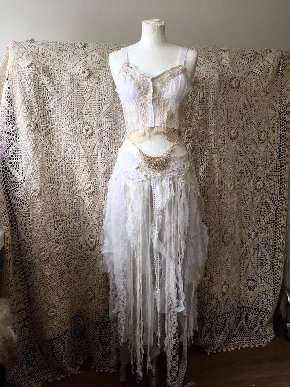 Fairy dresses,Vintage inspired wedding, tattered clothes , bohemian wedding ,Woodland wedding, Elven skirt, ragged ripped cotton and knit