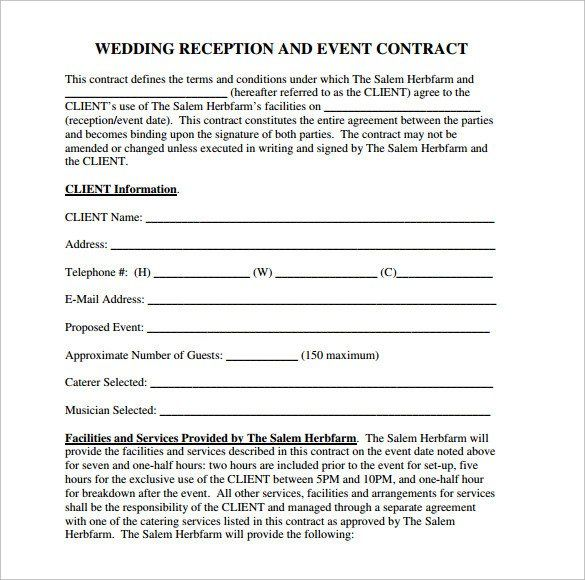 Wedding Vendor Contract Template Best Of Wedding Contract Template 24 Download Free Documents In 2020 Contract Template Seating Chart Wedding Template Templates