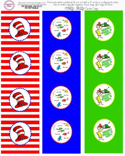 Free printable: Dr. Seuss cupcake toppers