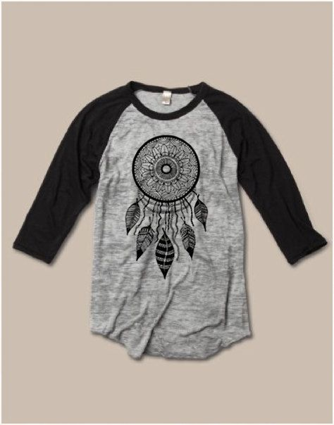 Womens Unisex Sizing Dream Catcher Screen Print Top Long Sleeve Raglan BURNOUT Baseball Tee Alternative Apparel S M L XL more Colors on Etsy, $22.00