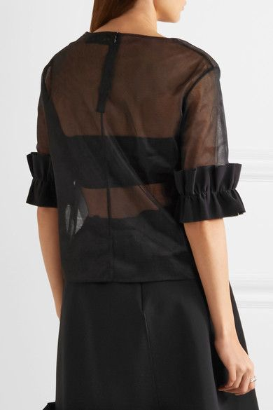 Paskal - Ruffled Bonded Stretch Crepe-trimmed Organza Top - Black - small