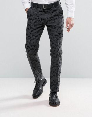 ASOS - Pantaloni eleganti skinny in raso nero con particolari in jacquard