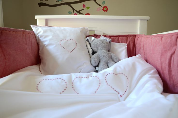 Hand Embroidered Red Heart cot linen range from www.tomandbella.co.za