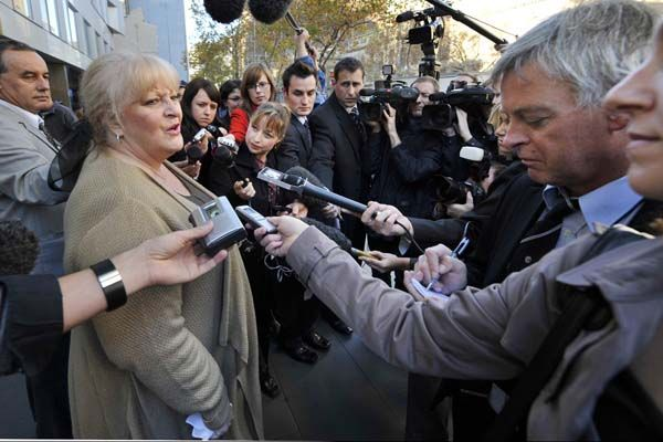 Judy Moran after hearing that forty-year-old Evangelos Goussis has been found guilty of murdering underworld patriarch Lewis Moran, May 29 2008. Photo: Jason South
