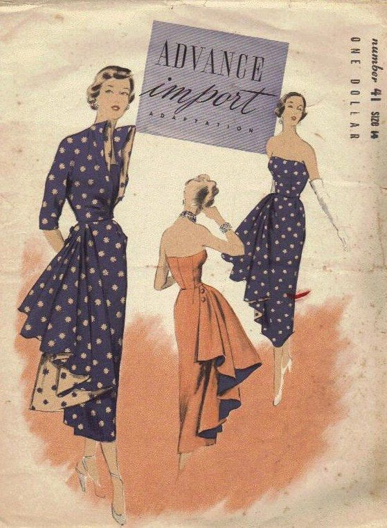 RARE 1940s Advance Import Pattern 41 Strapless Evening Gown Formal Dress Flounce Drape Swag Designer High Fashion Glamour Style Bust 32 by AdeleBeeAnnPatterns on Etsy https://www.etsy.com/uk/listing/97620852/rare-1940s-advance-import-pattern-41