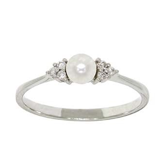 Freshwater cultured pearl ring with diamond accents, in 14K white gold.   Pearl is approximately 3.5mm in diameter. $269.00