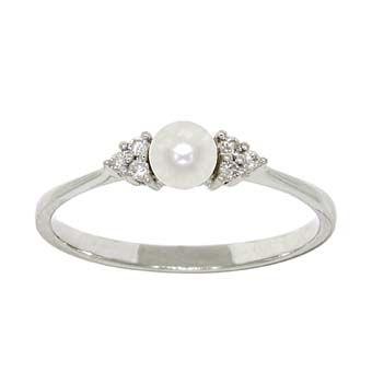 Freshwater Cultured Pearl & Diamond Ring 14K