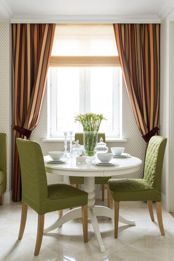Обеденный стол   #зеленый #обеденныйстол #окно #оранжевый #шторы
