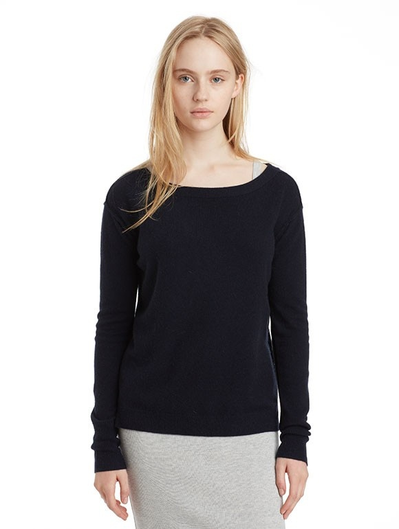 INHABIT Womens Cashmere Open Crew - Navy