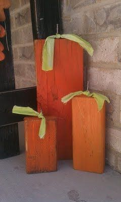 Scrap Wood Pumpkins: Wood Pumpkin, Pumpkin Crafts, Fall Decor, Wood Scrap, Wooden Pumpkin, Fall Halloween, Wood Blocks, Scrap Wood, Front Porches
