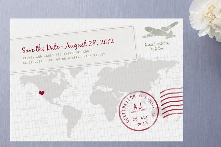 Travel-themed save the date.