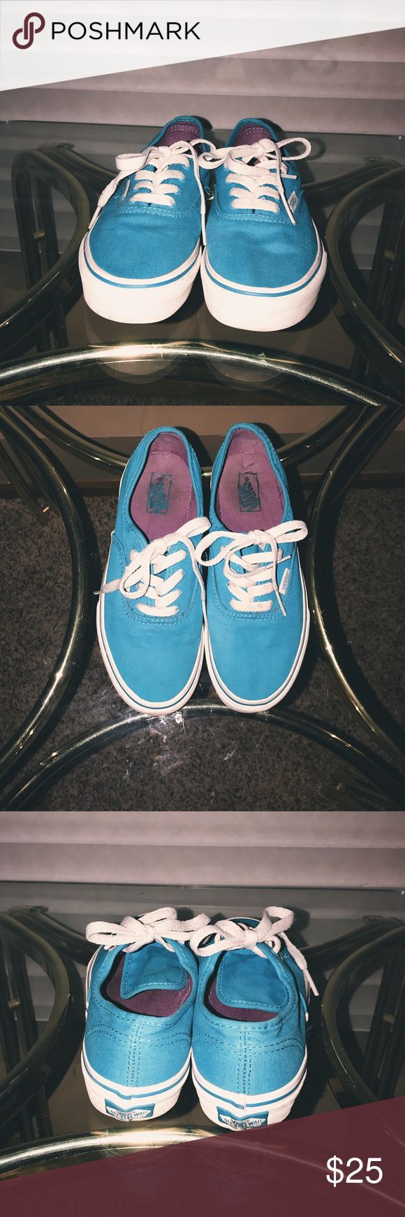 Blue Vans 💙 -condition : 7/10 -signs of wear : dirty and slightly scuffed but all shoes are cleaned before shipping -nwot -brand : Vans -size : 5/6 -colors : blue -details : purple inside -bundles save! -price : negotiable, use the offer button! Vans Shoes Sneakers