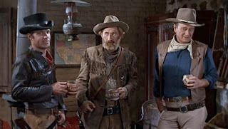 James Caan as Mississippi, Arthur Hunnicutt as Bull, and John Wayne as Cole Thornton in ''El Dorado'' 1966.