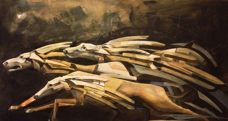 The race of freedom, painting, acrylic on canvas || Wyścig wolności, obraz, akryl na płótnie