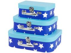 Storage Suitcases Set of Three - Stars   Paper Products Online