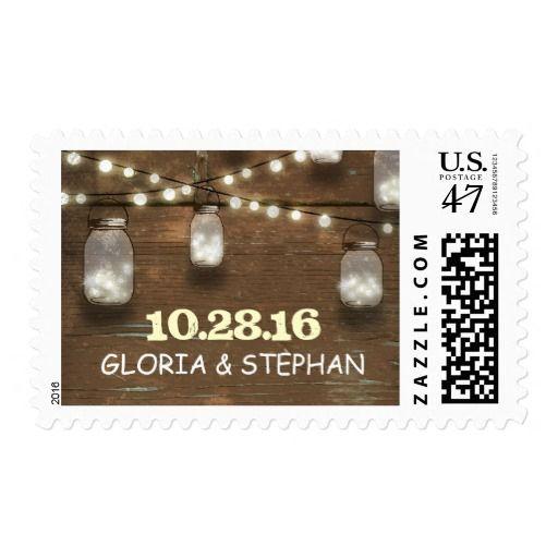 lights mason jars rustic wedding postage stamps