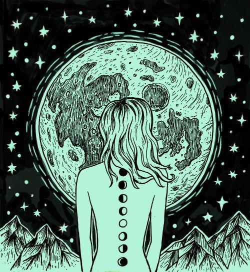 rachelbennettdraws: il est juste la nuit dans mes veines ... moon fille ✨✨