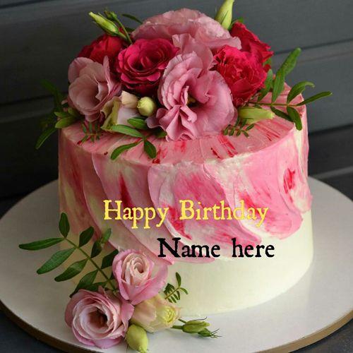 Write Name On Beautiful Rose Flower Birthday Cake Rose Flower