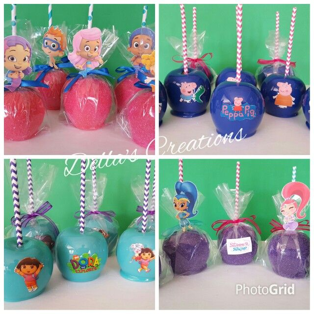 Nick Jr. themed candy apples with edible images and character cutouts! (Peppa Pig, Dora, Bubble Guppies, Shimmer and Shine)
