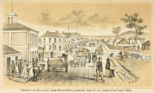 Township of Ballarat from Baths Hotel, showing part of the Camp and the 'Logs', 1855
