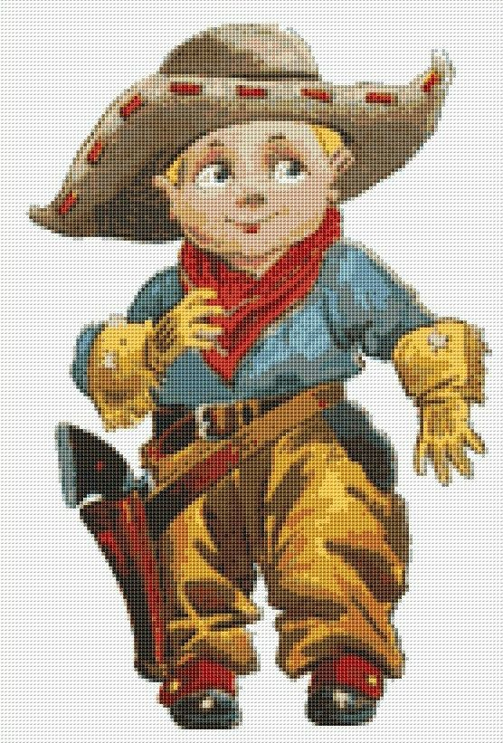 PRICE REDUCED  Little Cowboy Counted Cross by NeedleAndFloss
