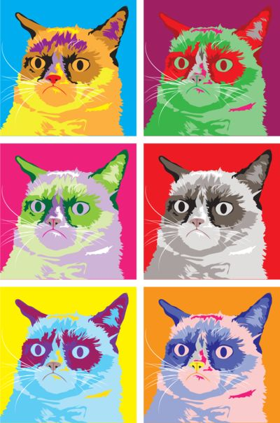 Pop art Grumpy Cat - Pop Art lesson with internet memes