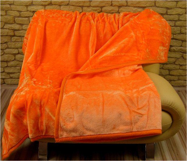 Hrubá deka z akrylu v oranžové barvě
