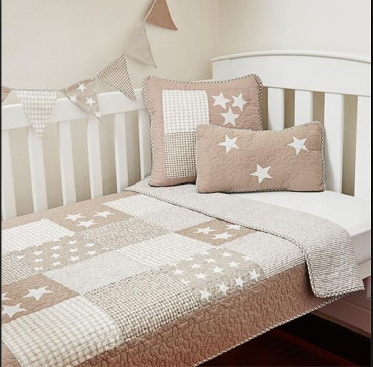 2 Pc Set Boys Stars Stripes Beige Nursery Cot Crib Quilt Coverlet Baby Blanket