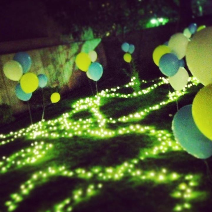 Night Party Decor With Balloons Lights