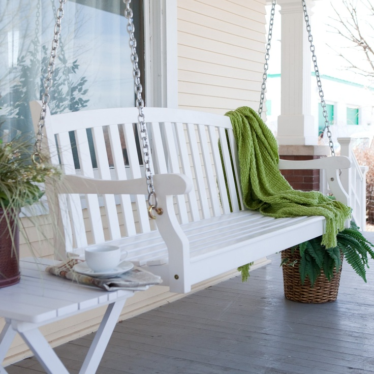 Pleasant Bay White Painted Porch Swing with Optional Hardware