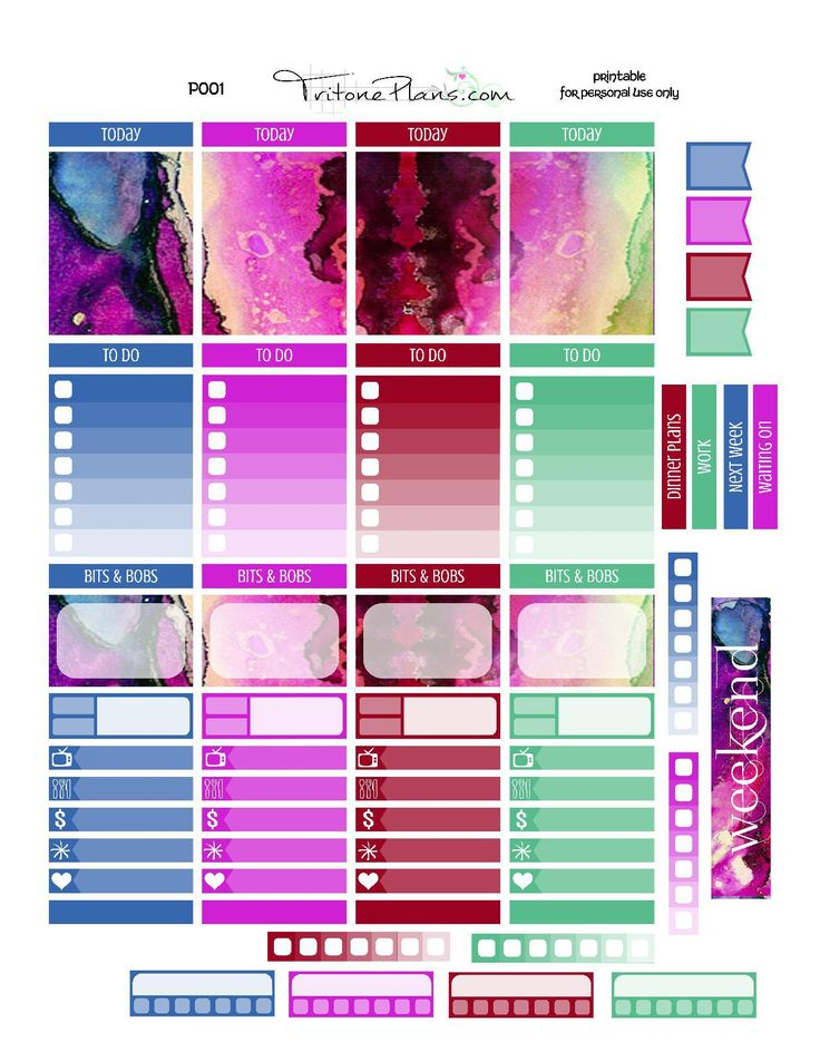 Free Planner Sticker Printable file - sized for Erin Condren Vertical Life Planner - blackout file included