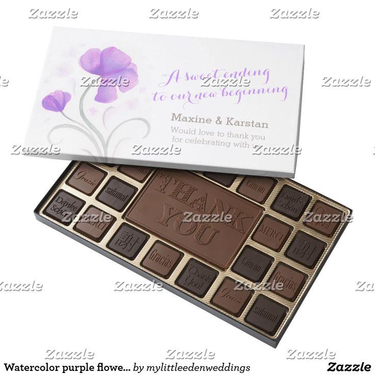 Watercolor purple flowers wedding chocolate favors