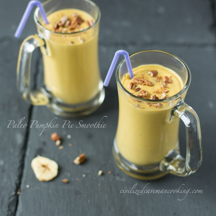 Pumpkin Pie Smoothie: Ingredients 1 cup pumpkin puree 1 cup coconut milk 1/2 cup apple juice 1 whole banana (or half an orange) 1 teaspoons pumpkin pie spice 1 cup of ice cubes handful of crushed pecans for topping
