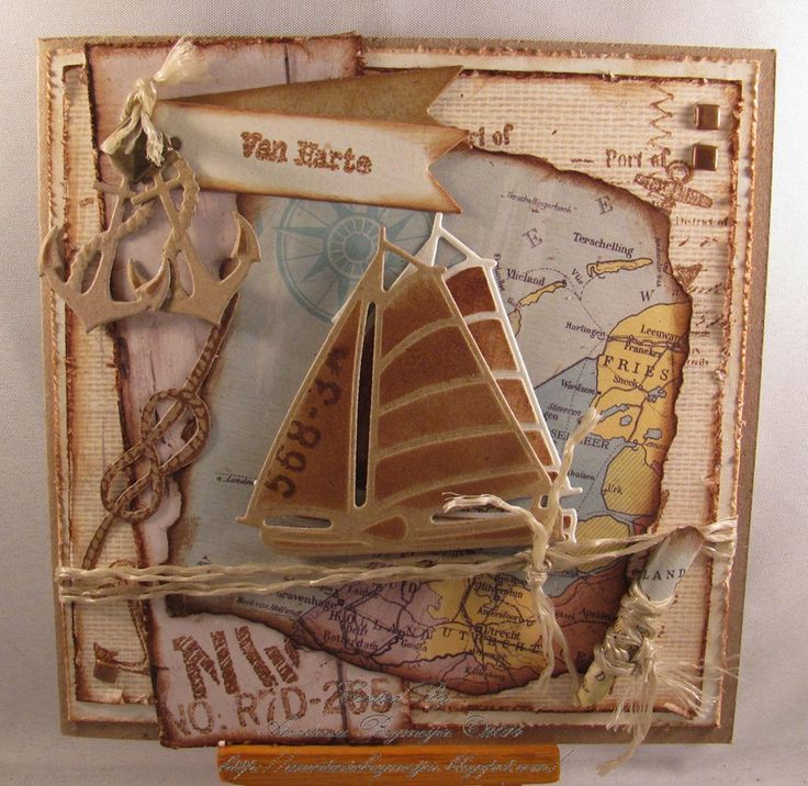 sailboat on torn map