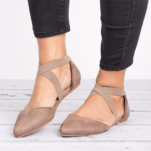 Nude Criss Cross Ballerina Flats **stitch fix- love shoes. client A.R.**