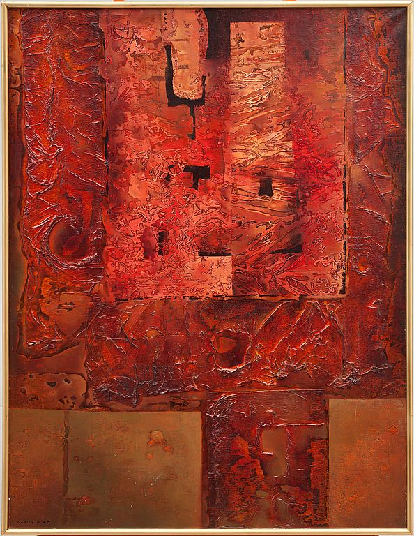 Josef Istler - Cimposition in red (1964) #art #painting #Czechia