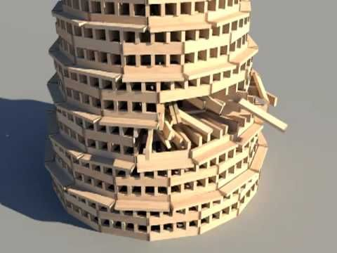 KEVA planks round tower build and destroy using Bullet Physics Engine