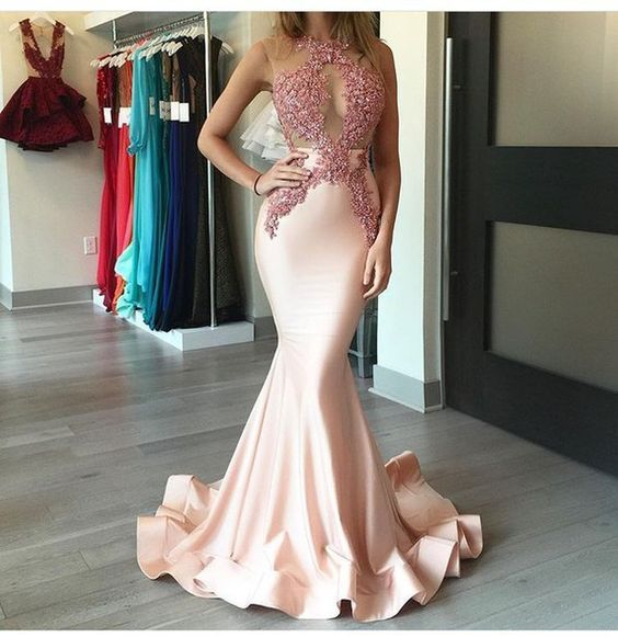 Sexy Mermaid Satin Prom Dresses, Lace Prom Dresses, Chic Style Prom Dresses…