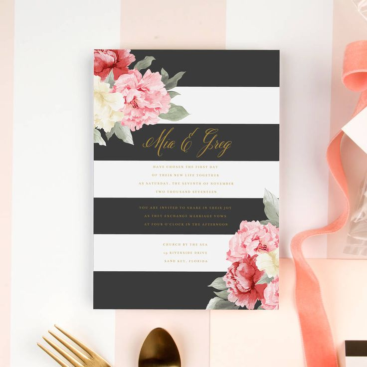 Peonies And Stripes Wedding Invitation. If you're planning a baby shower or wedding that is a chic and elegant affair, you will need the perfect invitations to match.