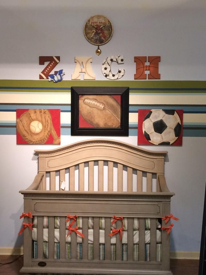 Sports Theme Nursery Display At Cat And The Fiddle In Plano Tx With Custom Crib Bedding By Pine Creek Oh Baby Pinterest